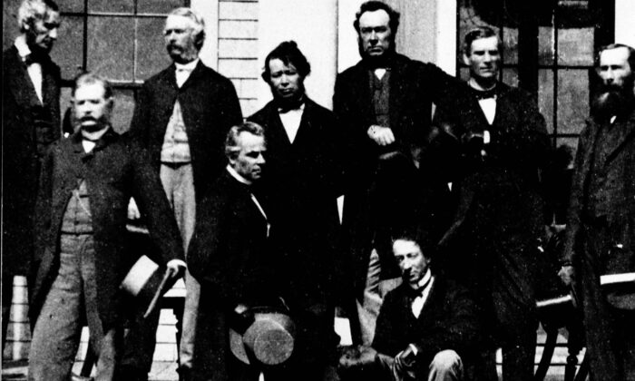 Some of the Fathers of Confederation are shown at the Charlottetown Conference in September 1864 where they gathered to consider the union of the British North American Colonies. Sir John A. Macdonald (R) and Georges Etienne Cartier are in the foreground. (National Archives of Canada-PA-091061/The Canadian Press)