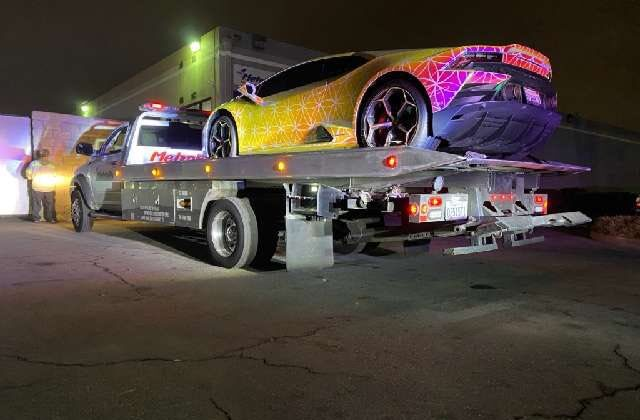 Santa Ana police impounded 25 vehicles during a street racing bust on Jan. 9, 2021. (Courtesy of the Santa Ana Police Department)