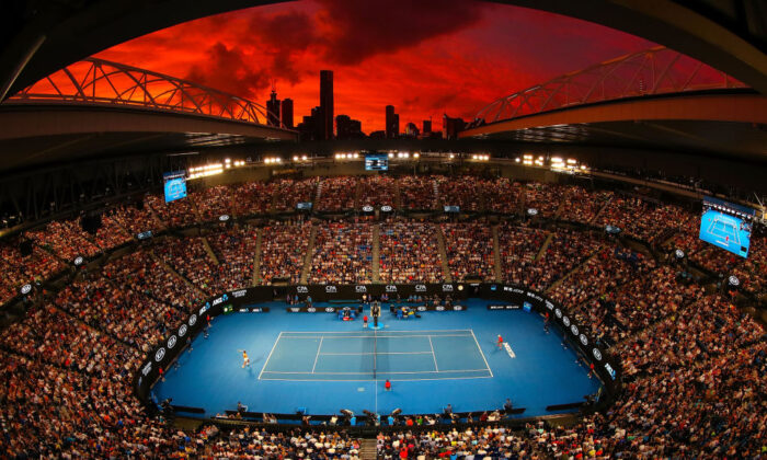 A general view of Rod Laver Arena at sunset in the third round match between Alex De Minaur of Australia and Rafael Nadal of Spain during day five of the 2019 Australian Open at Melbourne Park on January 18, 2019 in Melbourne, Australia.  (Scott Barbour/Getty Images)