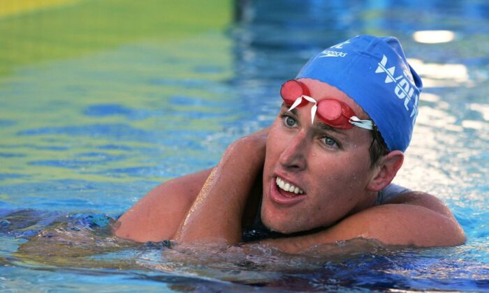 Klete Keller of Club Wolverine takes a breather after his victory in the Men's 800 Meter Freestyle event during the 2005 ConocoPhilllips National Championship at the William J. Woollett Aquatic Center in Irvine, Calif. on Aug. 3, 2005. (Doug Benc/Getty Images)