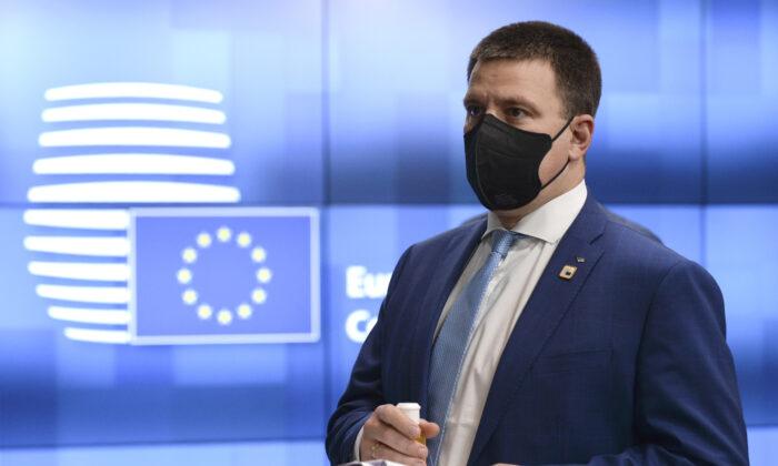Estonia's Prime Minister Juri Ratas leaves from an EU summit in Brussels, on Oct. 16, 2020. (Johanna Geron/Pool via AP)