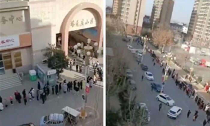 People waiting in long lines for COVID-19 test, in Shijianzhuang, China, January 2021. (Screenshot of online video provided to The Epoch Times)
