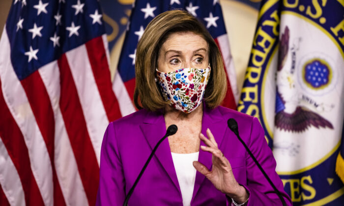 Speaker of the House Nancy Pelosi at the U.S. Capitol in Washington on Jan. 7, 2021. (Samuel Corum/Getty Images)