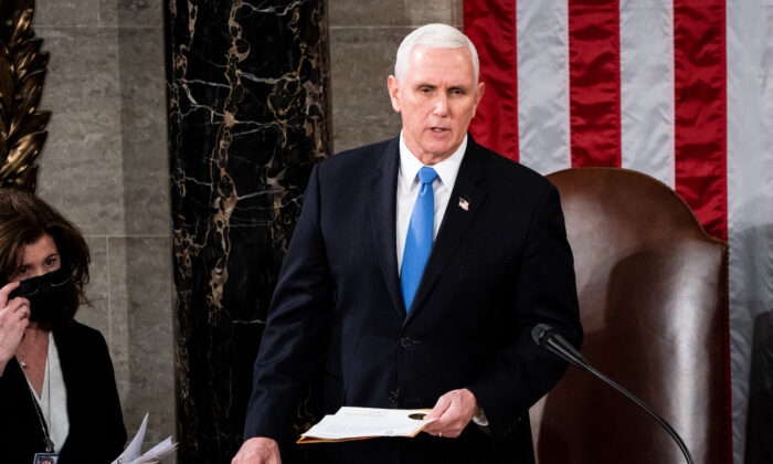 Vice President Mike Pence presides over a joint session of Congress to certify the 2020 Electoral College results on Capitol Hill in Washington on Jan. 6, 2020. (Erin Schaff/The New York Times via Getty Images)