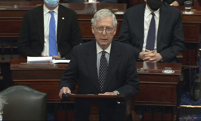 Senate Majority Leader Mitch McConnell (R-Ky.), speaks as the Senate reconvenes after protesters stormed into the U.S. Capitol, in Washington on Jan. 6, 2021. (Senate Television via AP)