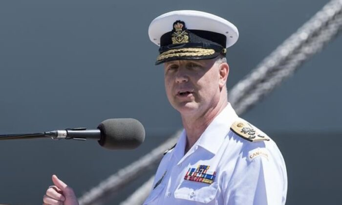 Art McDonald, then the new head of the navy, addressed the audience at the Royal Canadian Navy change of command ceremony in Halifax on June 12, 2019. (The Canadian Press/Andrew Vaughan)