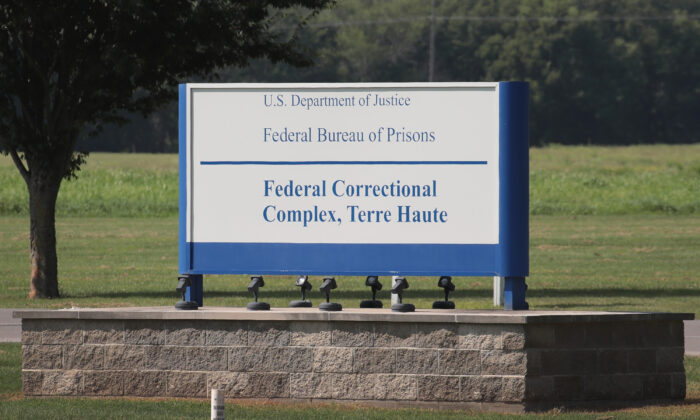 A sign marks the entrance to the Federal Correctional Complex Terre Haute in Terre Haute, Ind., on July 25, 2019. (Scott Olson/Getty Images)