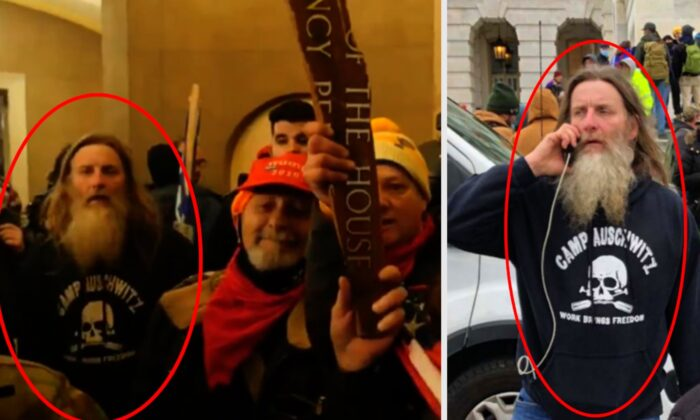 Media outlets subsequently identified the individual in the sweatshirt at the U.S. Capitol—indicated by a red circle in the photographs above—as 56-year-old Robert Keith Packer from Virginia. (Courtesy of U.S. District Court for D.C.)