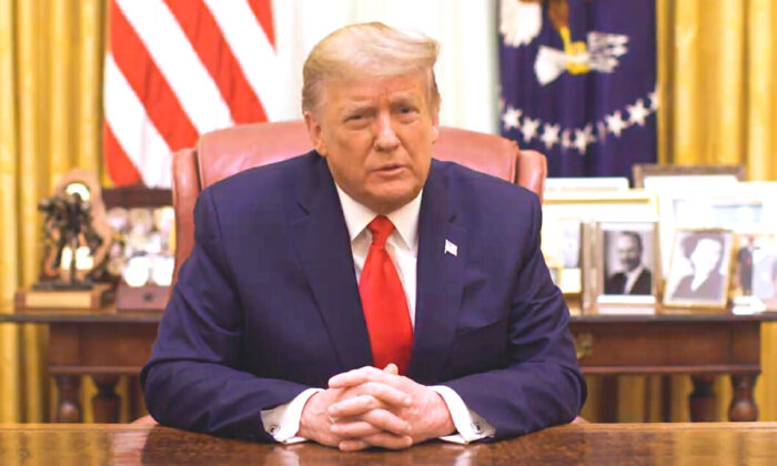 President Donald Trump speaks in a video released by the White House late on Jan. 13, 2021. (Screenshot/White House)