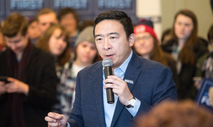 Then-Democrat presidential candidate Andrew Yang speaks during a campaign event at Hopkinton Town Hall in Hopkinton, N.H., on Feb. 9, 2020. (Scott Eisen/Getty Images)
