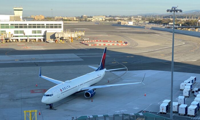 A Boeing 737 of Delta Airlines is parked at San Francisco International Airport on Aug. 2, 2020. (Daniel Slim/AFP via Getty Images)