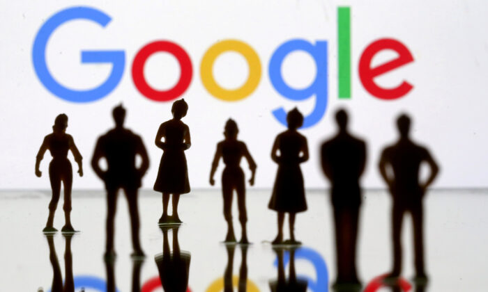 Small toy figures are seen in front of Google logo in this illustration picture on April 8, 2019. (Dado Ruvic/Reuters)