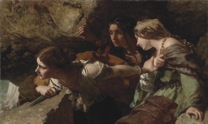 """""""Courage, Anxiety, and Despair: Watching the Battle,"""" 1850, by James Sant. Oil on canvas; 47.9 inches by 60 inches. (Public Domain)"""