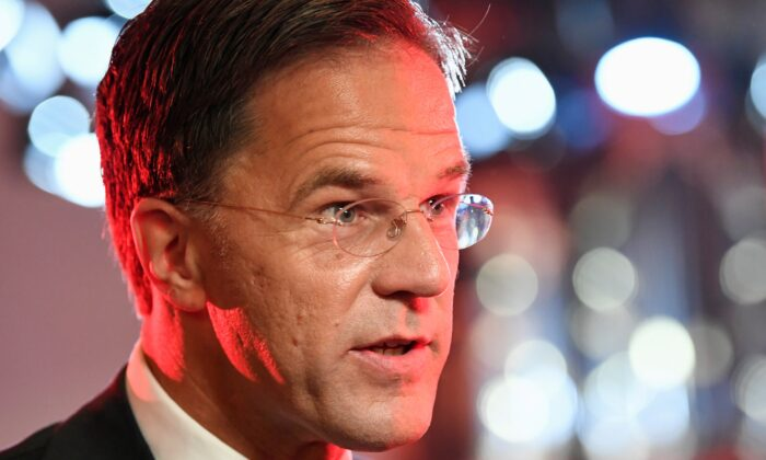Dutch Prime Minister Mark Rutte of the People's Party for Freedom and Democracy speaks after a televised debate moderated by journalist Jeroen Pauw, on the eve of European elections in Amsterdam, Netherlands, on May 23, 2019. (Piroschka van de Wouw/Reuters)