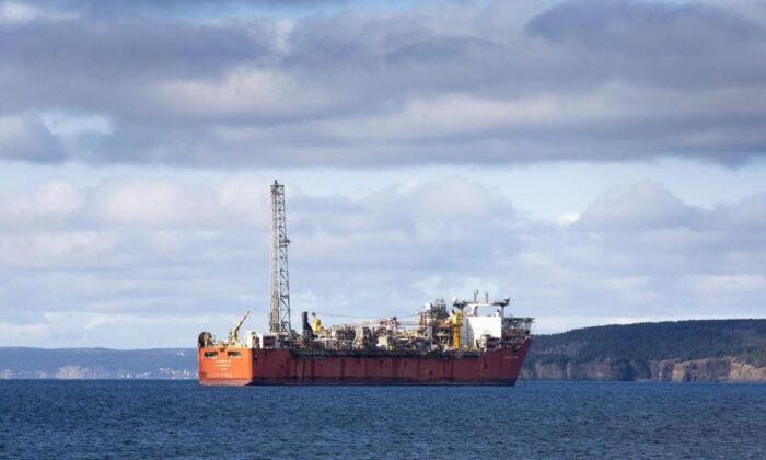 The Terra Nova FPSO is shown anchored in Conception Bay, Newfoundland and Labrador, on Oct. 23, 2020.  (Paul Daly/The Canadian Press)