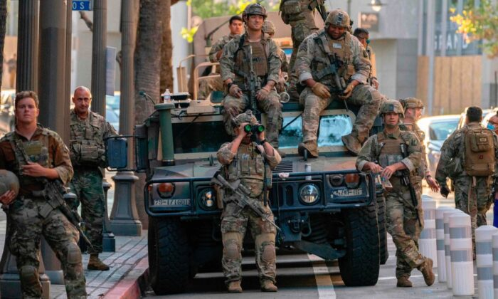Members of the California National Guard in downtown Los Angeles, Calif., on June 6, 2020. (Kyle Grillot/AFP via Getty Images)