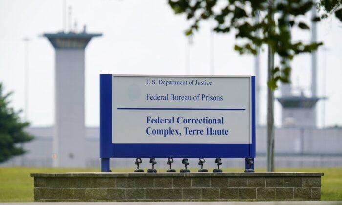 The federal prison complex in Terre Haute, Ind., on Aug. 28, 2020. (Michael Conroy/File Photo via AP)