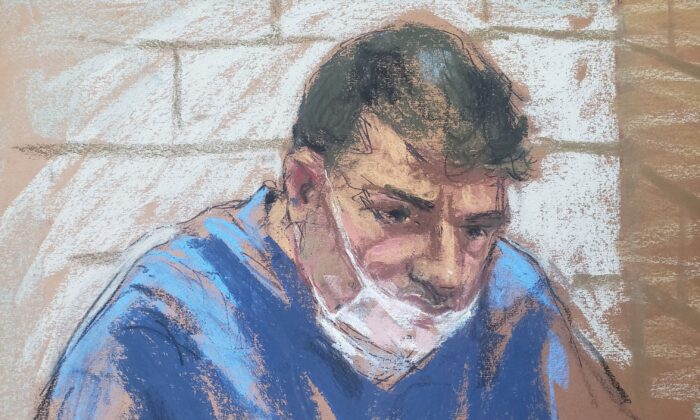 Eduard Florea appears during a virtual hearing on weapons charges in a New York court in this January 13, 2021 courtroom sketch. (Reuters/Jane Rosenberg)