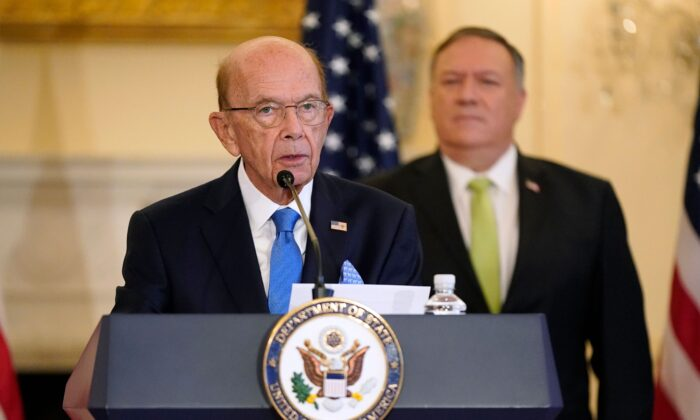 Commerce Secretary Wilbur Ross speaks during a news conference at the US State Department in Washington, on Sept. 21, 2020. (Patrick Semansky/POOL/AFP via Getty Images)