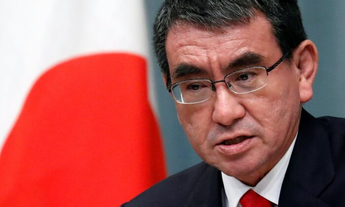 Japan's Defence Minister Taro Kono attends a news conference at Prime Minister Shinzo Abe's official residence in Tokyo, Japan, on Sept. 11, 2019. (Issei Kato/Reuters)