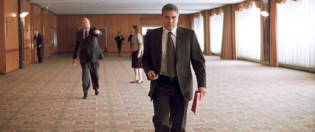 "man walks towards camera in Michael Clayton"""
