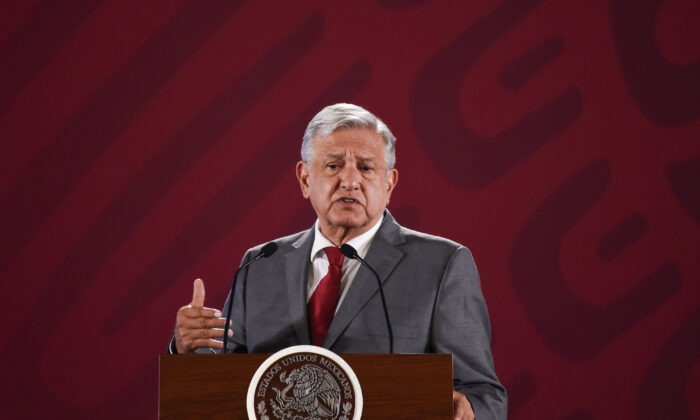 Mexican President Andrés Manuel López Obrador speaks during his morning press conference at the National Palace in Mexico City, Mexico, on May 31, 2019. (Alfredo Estrella/AFP via Getty Images)