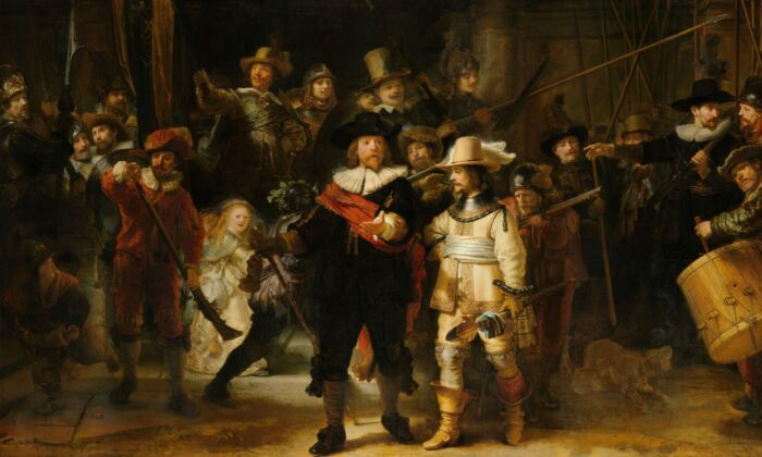 """Detail of """"Militia Company of District II under the Command of Captain Frans Banninck Cocq,"""" commonly known as the """"Night Watch,"""" 1642, by Rembrandt Harmenszoon van Rijn. Rijksmuseum, Amsterdam. On loan from the City of Amsterdam. (Rijksmuseum)"""
