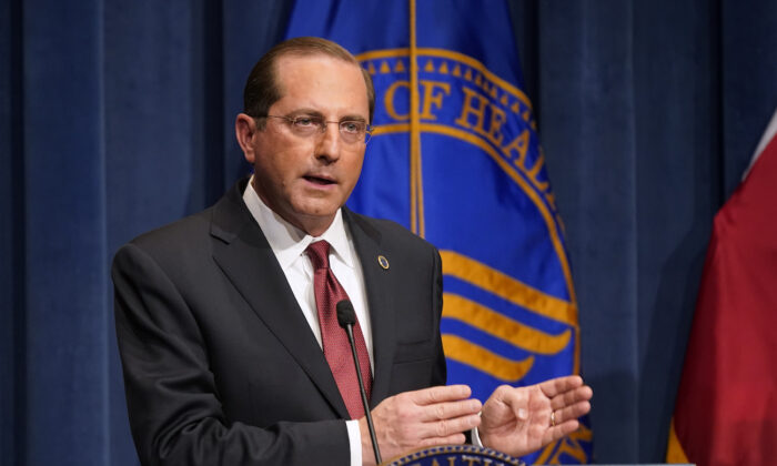 Health and Human Services Secretary Alex Azar speaks during a news conference on Operation Warp Speed and COVID-19 vaccine distribution, in Washington on Jan. 12, 2021. (Patrick Semansky/AP Photo, Pool)
