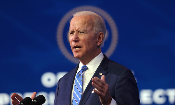 President-elect Joe Biden speaks as he lays out his plan for combating the CCP virus and jump-starting the nation's economy at the Queen theater in Wilmington, Del., on Jan. 14, 2021. (Alex Wong/Getty Images)