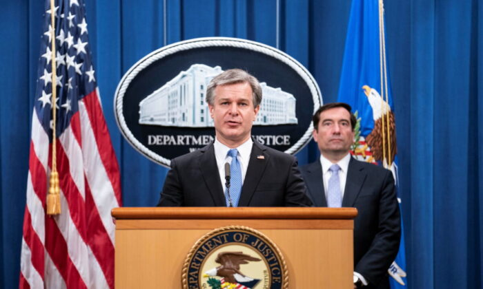 FBI Director Christopher Wray speaks during a press conference at the Department of Justice in Washington, on Oct. 28, 2020. (Sarah Silbiger/Pool via Reuters)