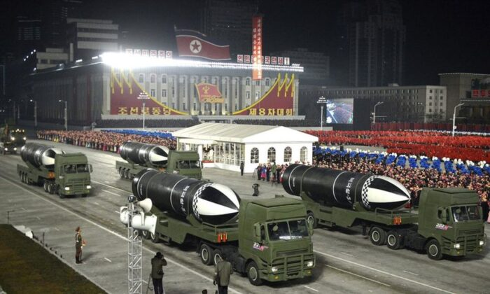 This photo provided by the North Korean government shows missiles during a military parade marking the ruling party congress, at Kim Il Sung Square in Pyongyang, North Korea Thursday, Jan. 14, 2021.  (Korean Central News Agency/Korea News Service via AP)