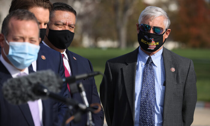 Rep. Fred Upton (R-Mich.) joins fellow members of the Problem Solvers Caucus during a news conference in Washington on Dec. 3, 2020. (Chip Somodevilla/Getty Images)