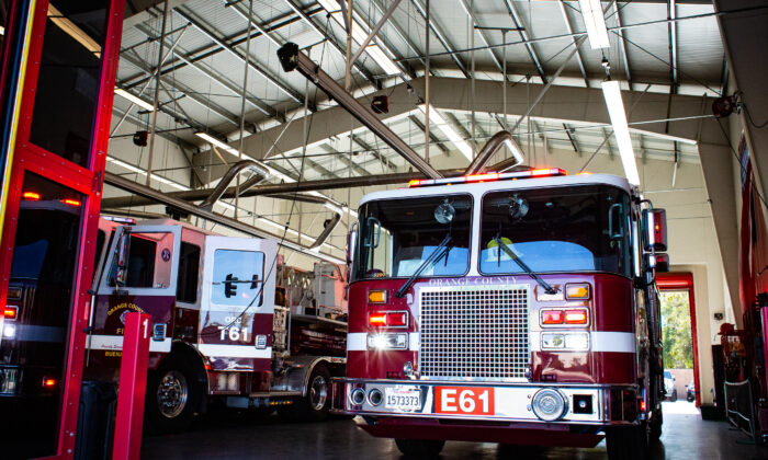 Orange County Fire Authority Engine Number 61 in Buena Park, Calif., on Jan. 15, 2021. (John Fredricks/The Epoch Times)
