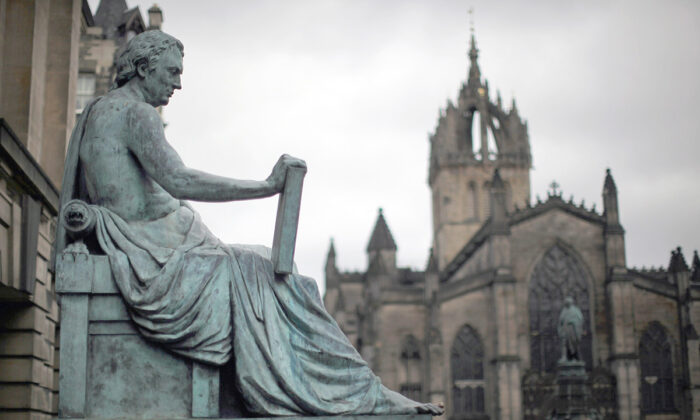 The statue of philosopher David Hume on the Royal Mile in Edinburgh, Scotland, on Feb. 21, 2012. (Jeff J Mitchell/Getty Images)