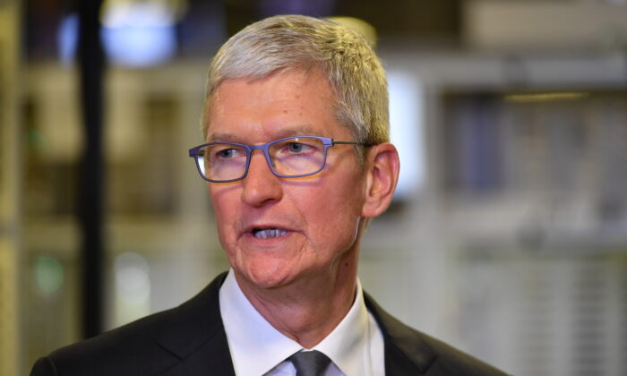 Apple CEO Tim Cook speaks during a tour of the Flextronics computer manufacturing facility in Austin, Texas, on Nov. 20, 2019. (Mandel Ngan/AFP via Getty Images)