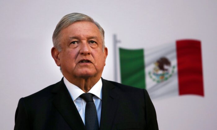 Mexican President Andrés Manuel López Obrador attends the commemoration of his second anniversary in office at the National Palace in Mexico City, Mexico, on Dec. 1, 2020. (Marco Ugarte/AP Photo)