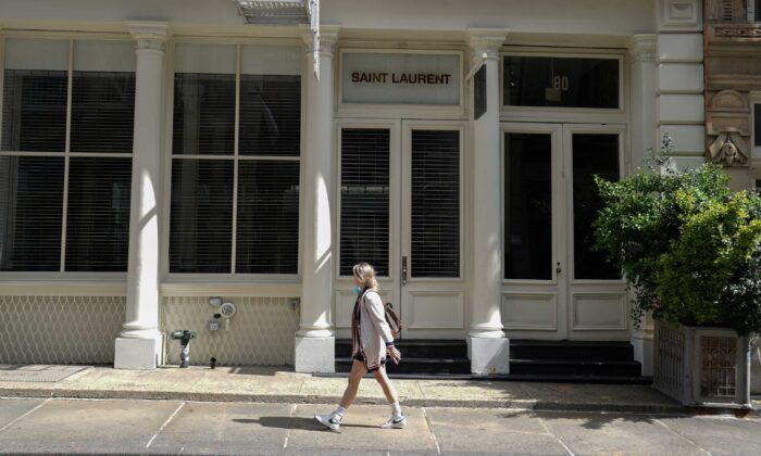 A Saint Laurent store in SoHo is closed, as retail sales suffer record drop during the outbreak of the coronavirus disease (COVID-19) in New York City, N.Y., on April 15, 2020. (Bryan R. Smith/Reuters)