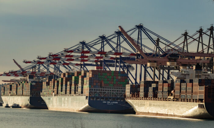 Ships are loaded with cargo at the Port of Los Angeles on Jan. 12, 2021. (John Fredricks/The Epoch Times)