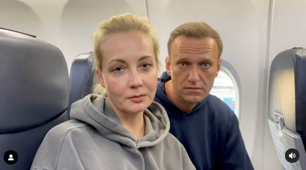 Russian opposition politician Alexei Navalny is seen in a still image from video before the departure for Moscow at an airport in Berlin