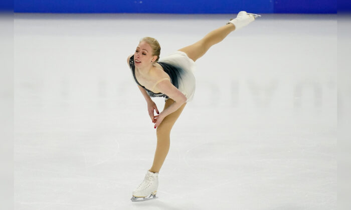 Bradie Tennell performs during the women's free skate at the U.S. Figure Skating Championships  in Las Vegas, Nev., on Jan. 15, 2021. (John Loche/AP Photo)
