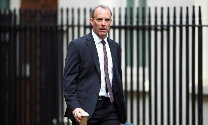 Britain's Foreign Secretary Dominic Raab arrives at Downing Street ahead of a cabinet meeting in London, Britain, July 14, 2020. (Hannah McKay/Reuters)