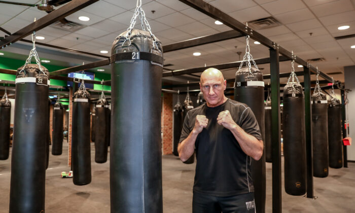 Mark Royce, owner of STRIKE Fitness boxing club in Rogers, Minn., on Dec. 30, 2020. (Charlotte Cuthbertson/The Epoch Times)