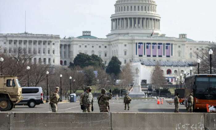 Security around the Capitol building in Washington on Jan. 15, 2021. (Charlotte Cuthbertson/The Epoch Times)