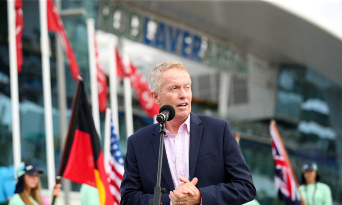 Australian Open Tournament Director Craig Tiley speaks at the Australian Open Welcome to Country and trophy arrival ceremony on day one of the 2020 Australian Open at Melbourne Park on January 20, 2020 in Melbourne, Australia. (Graham Denholm/Getty Images)