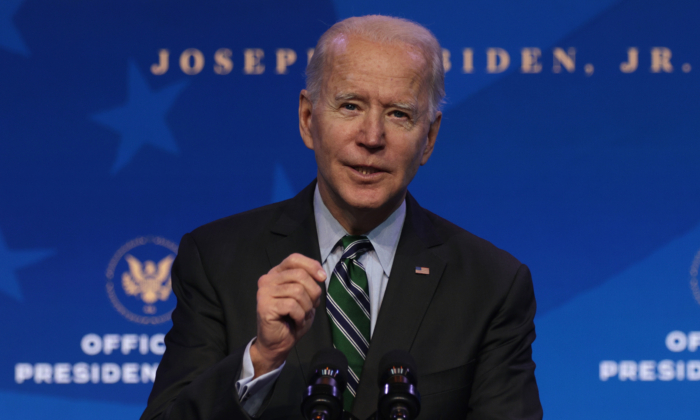President-elect Joe Biden speaks during an announcement at the Queen theater in Wilmington, Del., on Jan. 16, 2021. (Alex Wong/Getty Images)