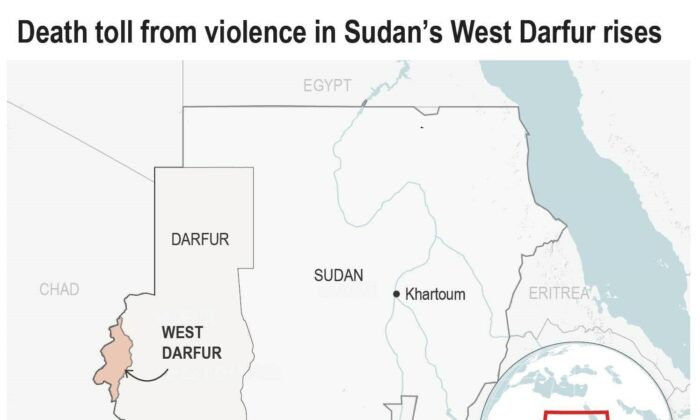 West Darfur on a map. (AP)