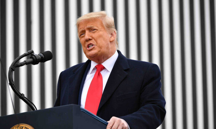 President Donald Trump speaks after touring a section of the border wall in Alamo, Texas on Jan. 12, 2021. (Mandel Ngan/AFP via Getty Images)