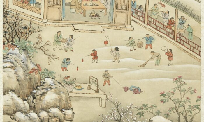 "The Chinese have long divided each of the four seasons into six terms that last 15 days each. ""Dahan"" (Great Cold) is the last solar term of the year. Here, children celebrate the Chinese New Year in heavy snow. ""Snow Dedicated to the Emperor's Poem,"" Qing Dynasty, by Dong Gao. (The National Palace Museum)"