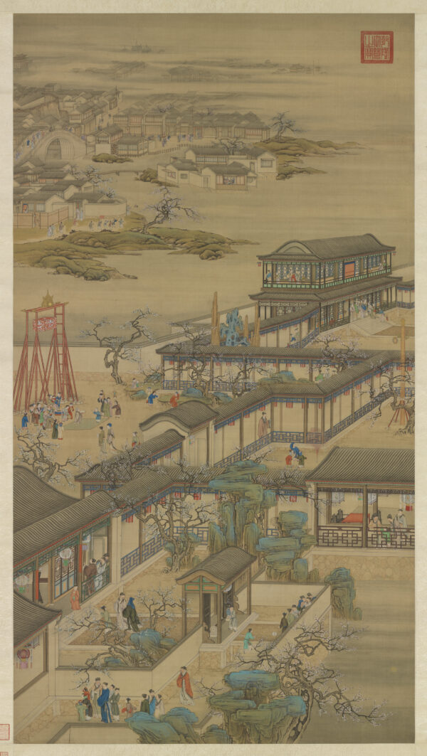 "A scroll showing ""Activities of the 12 Months: The First Lunar Month,"" court artists, Qing Dynasty (1644–1911). (The National Palace Museum)"