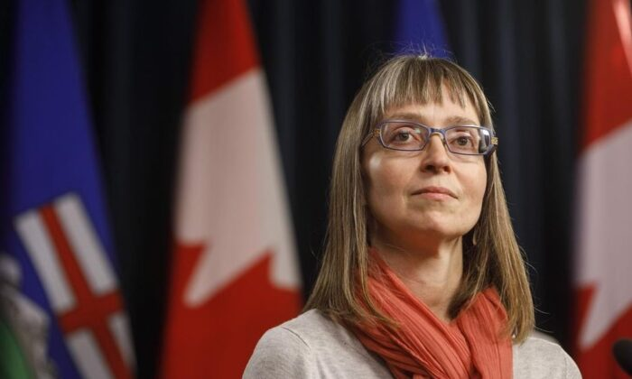 Alberta chief medical officer of health Dr. Deena Hinshaw updates media on the COVID-19 situation in Edmonton on March 20, 2020. (Jason Franson/The Canadian Press)